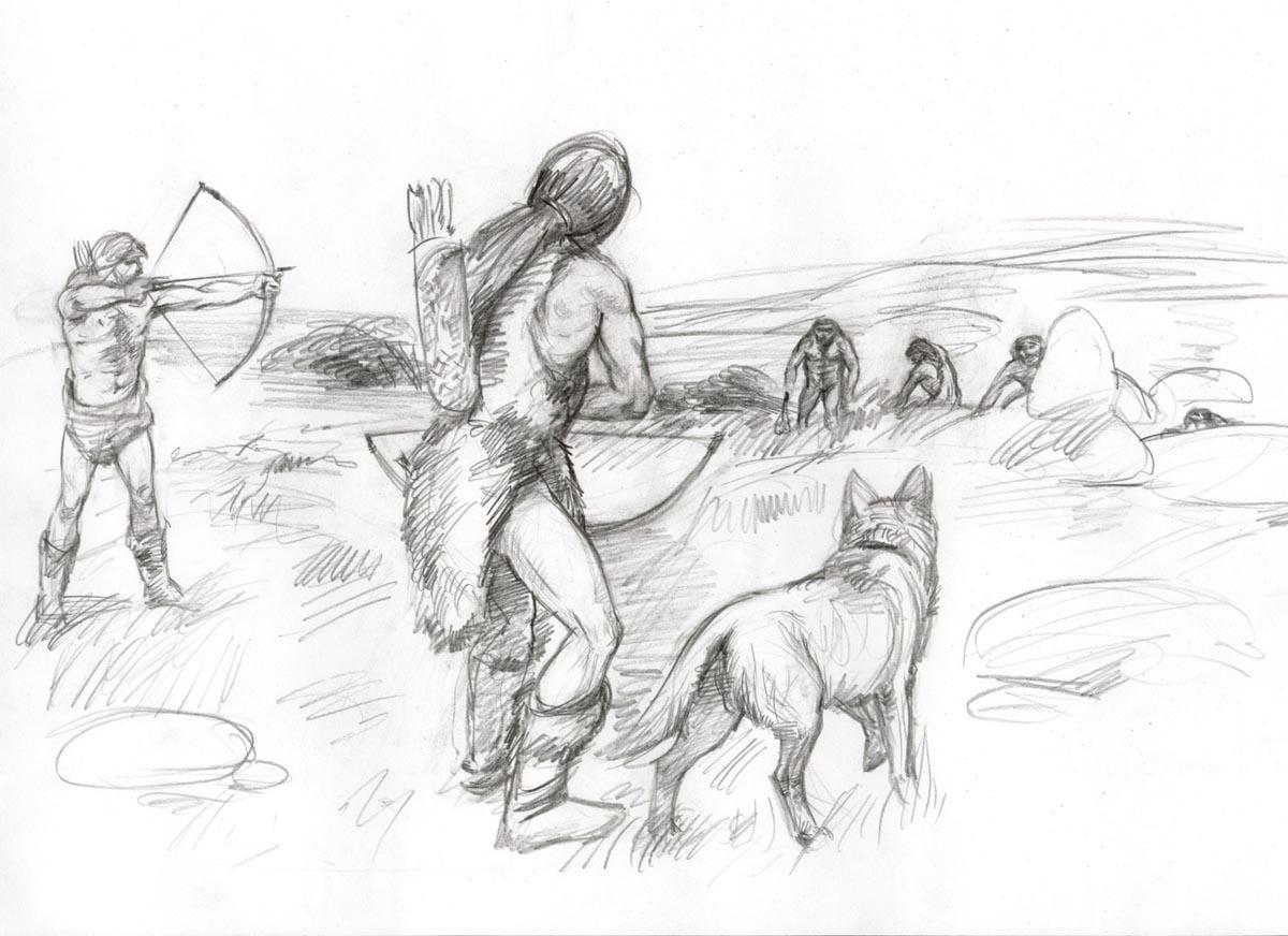 Древние люди картинки рисунки карандашом